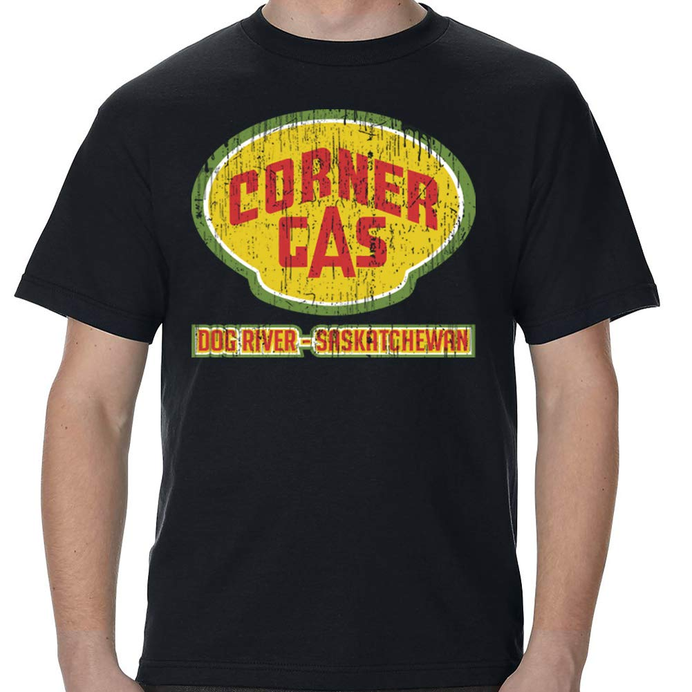 TeeWham Corner Gas Dog River Distressed Shirt T-Shirt Black by TeeWham