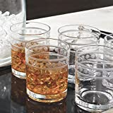 Etched Band Classic Style Bar Glass Set 12 | Double Old Fashioned Highball 4''