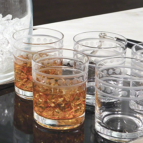 Etched Band Classic Style Bar Glass Set 12 | Double Old Fashioned Highball 4'' by Global Views