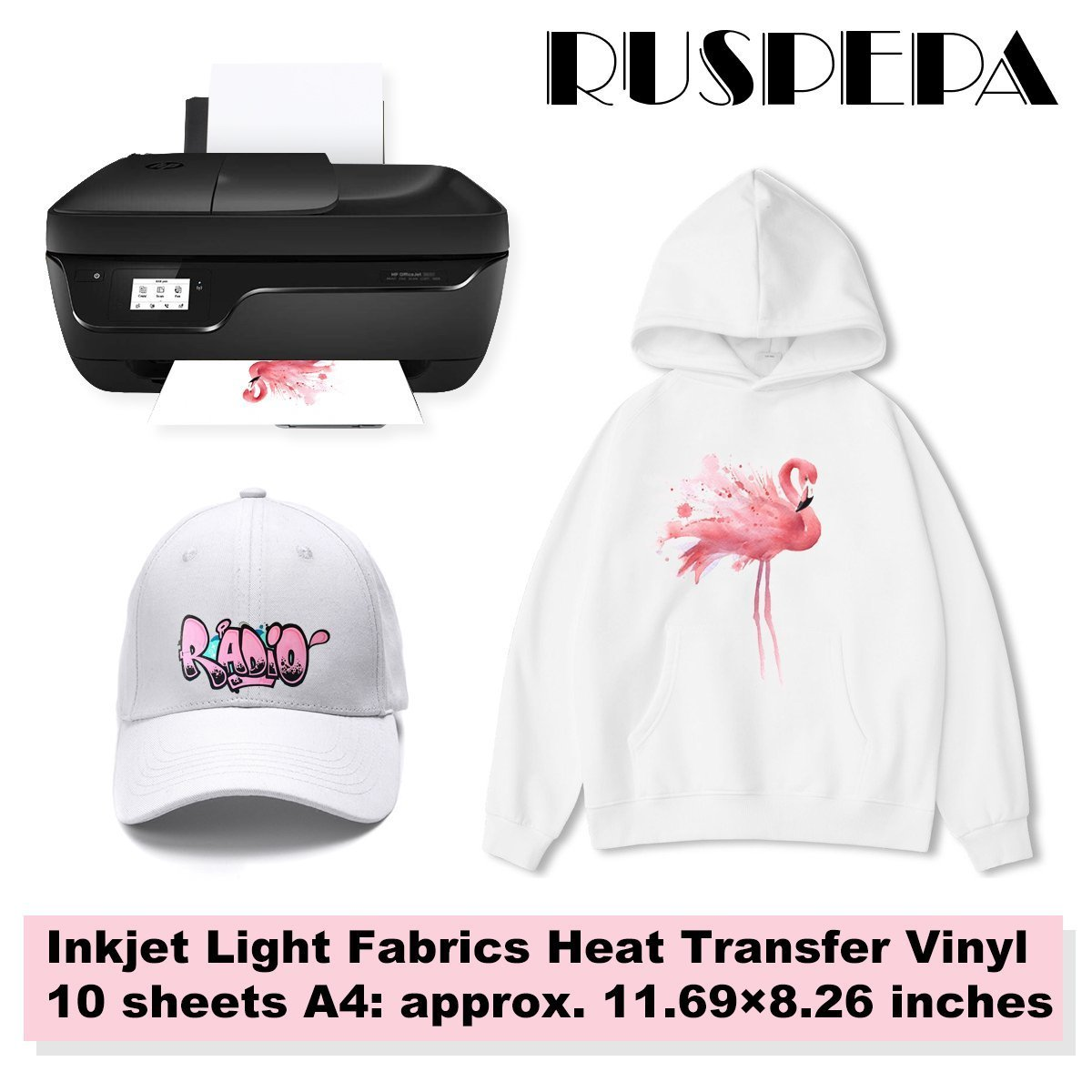 RUSPEPA 11.69 x 8.26 inches Inkjet Printable Transfer Paper Iron-On Light Fabrics Heat Transfer Vinyl A4 Sheet for T-shirts, Bag, Hats and Clothes, 10 Sheets