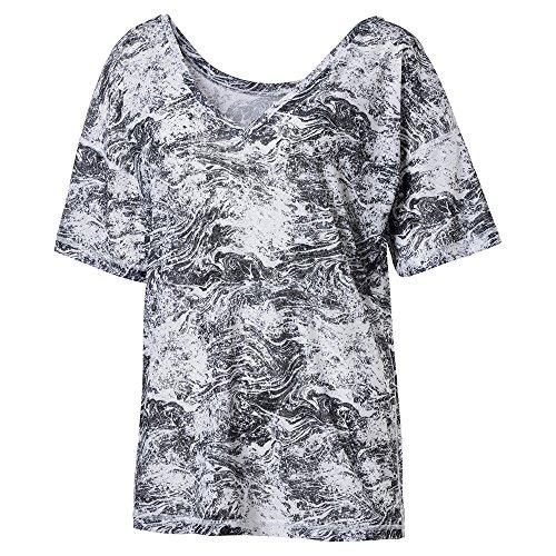 PUMA Women's Dancer Drapey T-Shirt, No Color Black-Quarry-White Black Nature Prt, XL