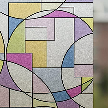 Weare Home Film de Fenêtre Non-adhésif Electrostatique sans colle Décoratif Intimité Repositionnable Classique Rétro Moderne Géométrique Multicolore pour Vitrage Vitre (45x182cm)