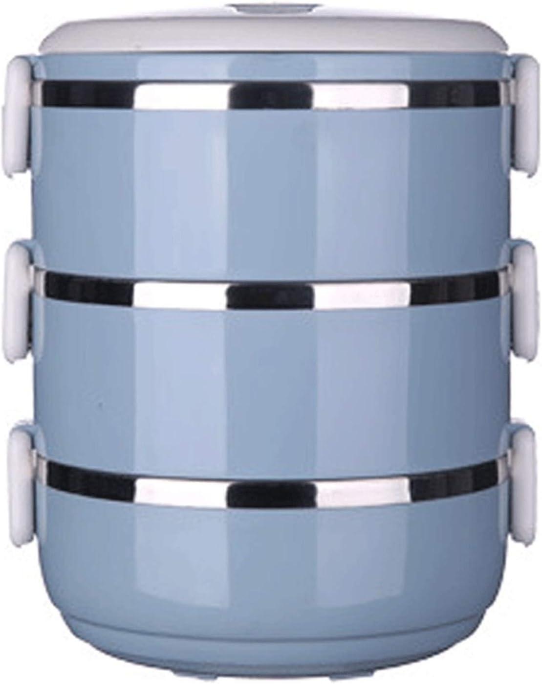 AHAI YU Caja de almuerzo de acero inoxidable, doble redondo para estudiantes, caja de bento sellada para oficina o camping (color: azul)