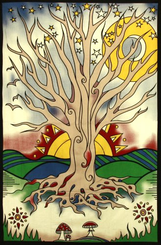 Sunshine Joy Twilight Tree Of Life Indian Tapestry Beach Sheet