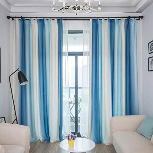 Be xn Blackout Curtains with tiebacks, Gradient Stripes Casual Window Curtains with Hooks for Living Room Family Room, Long Draperies Window, 1panel-Blue and White 270x350cm 106x138inch