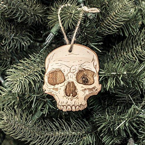 (Ornament - Half Skull - Raw Wood 3x3in)