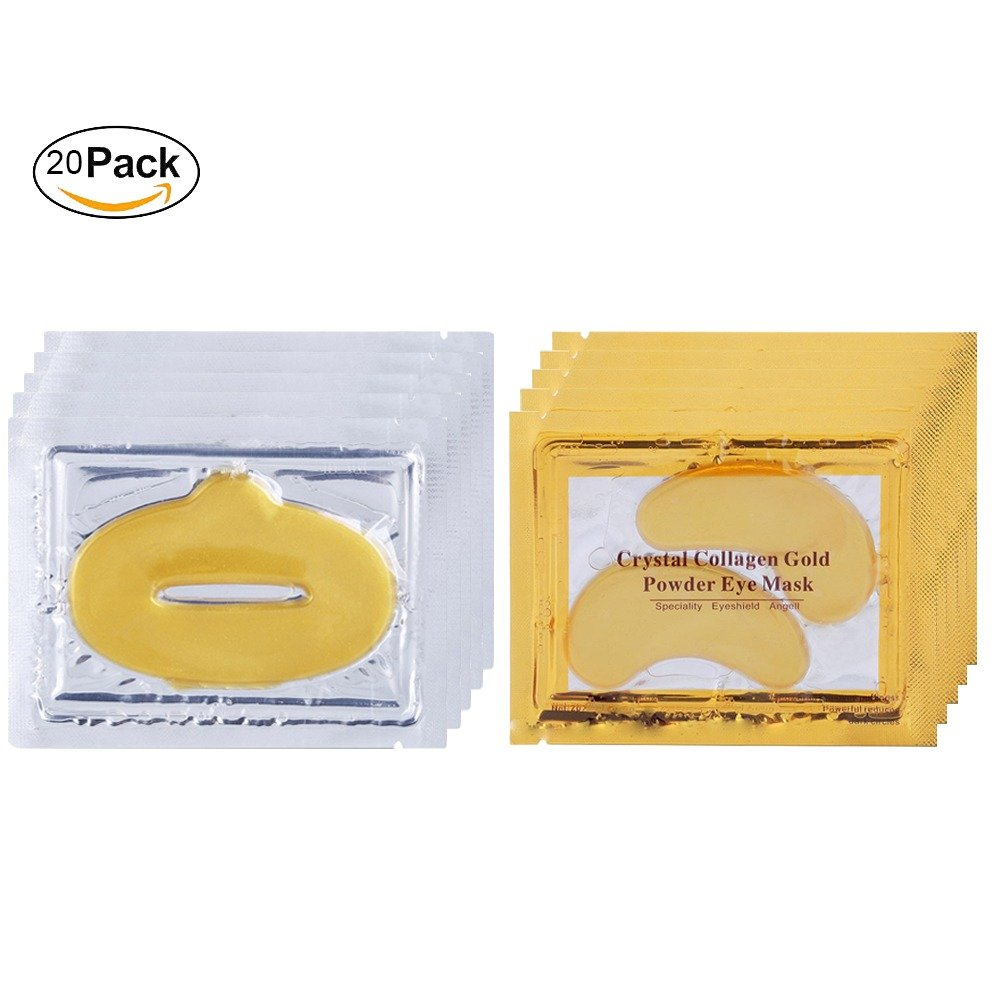 24k Gold Eye Mask & lip mask (10 each) For Puffy Eyes, Dark Circle Moisturising Lips, Hydrating eyes and lip