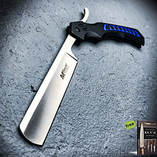 TACTICAL Straight Blade Barber Razor Folding Pocket Knife Shaving Cut Throat Carbon Steel Razor Sharp Blade Knife + Free eBook by SURVIVAL STEEL - Knife Butterfly Clip Blade