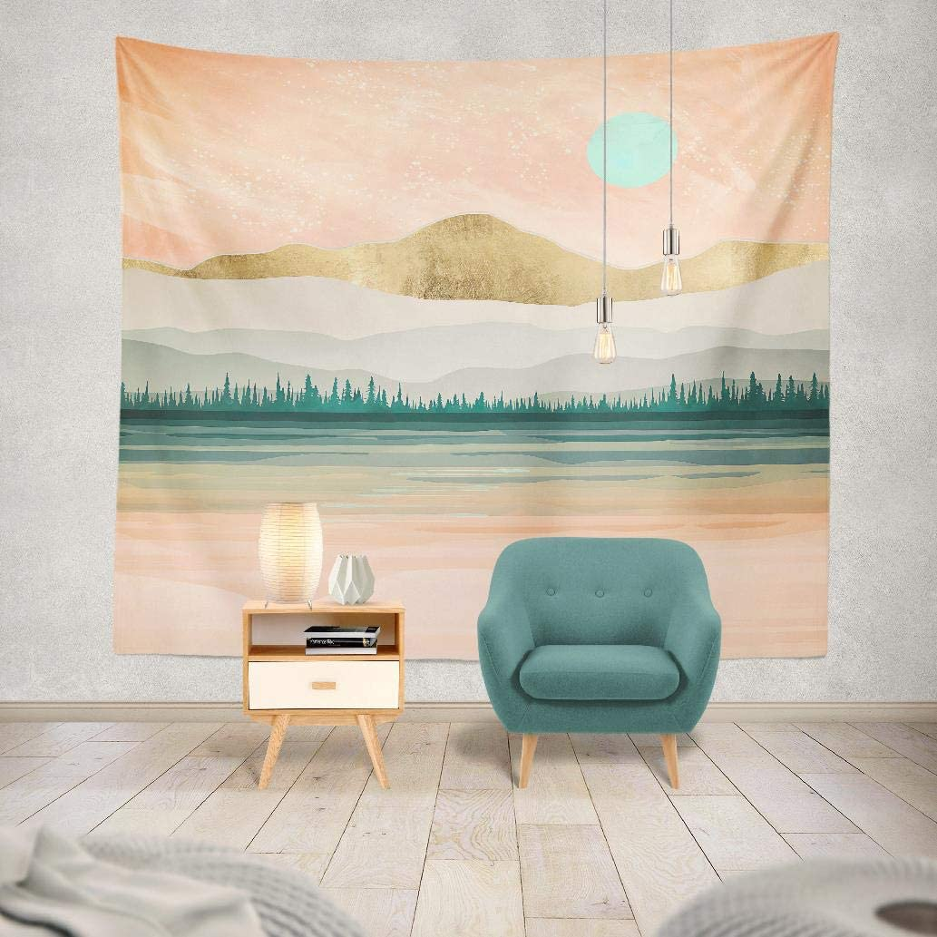 Kutita Tapestry Spring Forest Lake Trees Hills Mountains Water Reflection Watercolor Gold Green Pink Abstract Landscape Modern Wide Wall Hanging For Bedroom Living Room Dorm 60 X 80 Inches Home