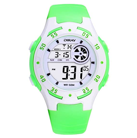 Digital-Analog Niños Niñas Luminoso reloj digital deportivo con alarma cronómetro cronógrafo - 50 m a prueba de agua (Verde): Amazon.es: Relojes