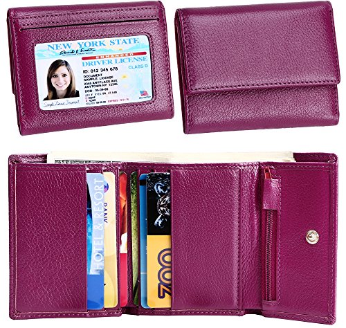 Women Small Wallet Genuine Leather Wallets Trifold Slim Credit Card Holder (Purple) ()