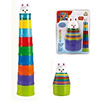 Babytintin Rainbow Stack and Explore Blocks Cups Game with Cute Rabbit Topper Toy for Infant and Toddler (A)