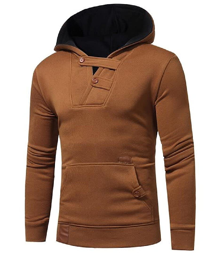 Ruhua Mens Hooded Long Sleeve Pullover Fitted Pockets Causal Hoodies Top