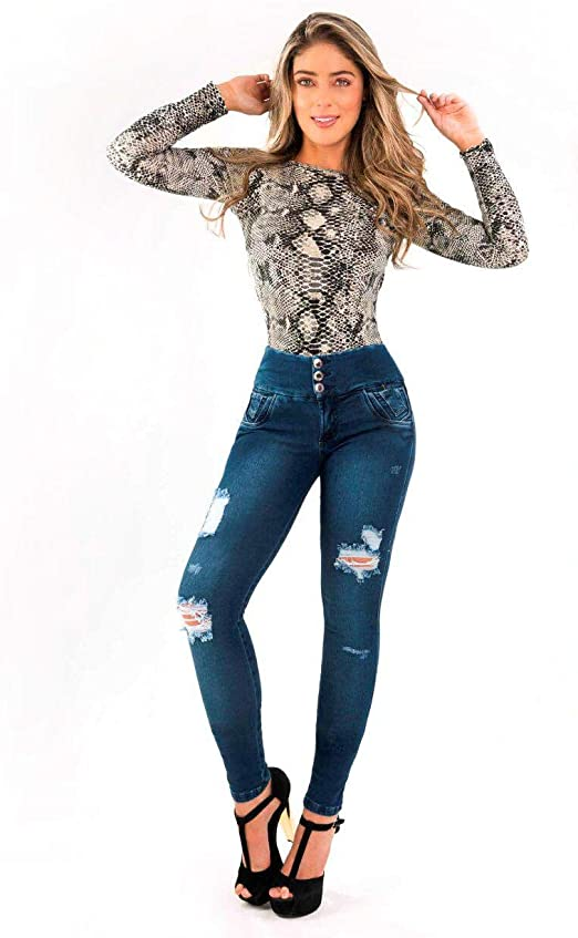 Khoor Jeans Colombianos Push Up Destroyer Azul Medio Skinny Jeans Para Mujer Levanta Gluteos Realza Gluteos