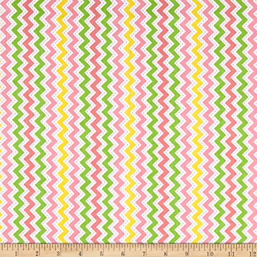 Zig Zag Studio (Maywood Studio Kimberbell Little One Flannel Too! Zig Zag Pink Fabric By The Yard)
