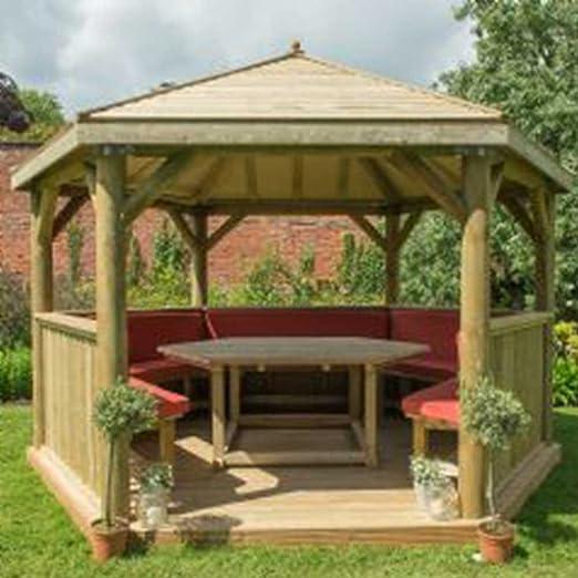 4.0 m jardín Gazebo Hexagonal de madera con techo de madera tradicional: Amazon.es: Jardín