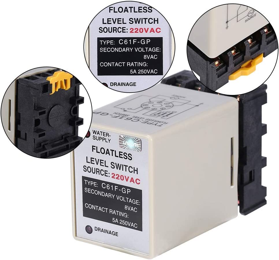 Interruptor De Nivel Sin Flotador 60hz Controlador De Nivel De L/íquido Alta Estabilidad De Trabajo Fuerte Interruptor De Controlador De Nivel De Agua Sin Interferencia BiuZi 1Pc C61F-GP AC 220V 50