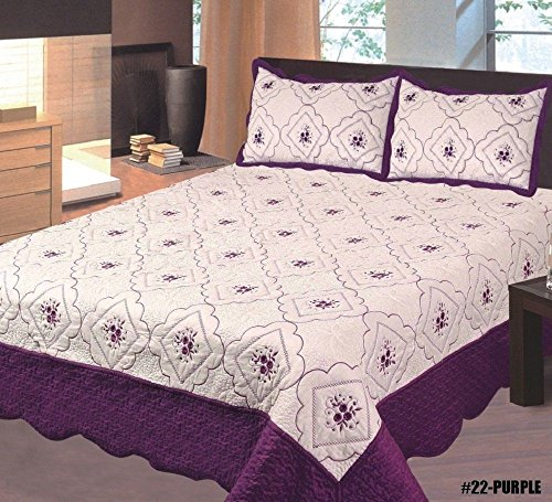 Home Must Haves Bedspread Bed Cover Full Embroidery Quilt Cream Dark Purple, Full Size