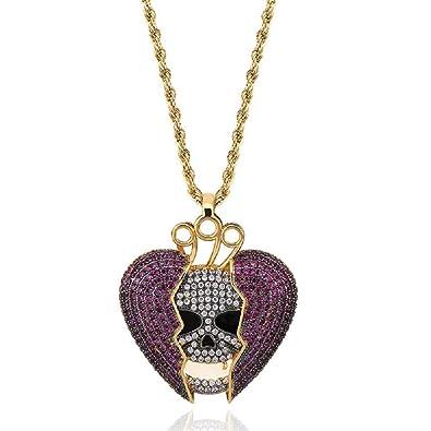 1e81949f7011 Moca Jewelry Hip Hop Iced out Bling corazón Roto Shantou Corona Demon  sólido Colgante Collar micropavé