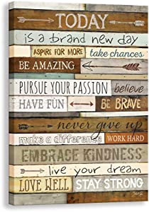 Inspirational Wall Art,Motivational Family Canvas Prints Signs Framed, Retro Artwork Decoration for Bedroom,Living Room & Home Wall Decor (12 X 18 X 1 inch, A Framed)