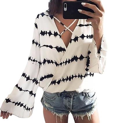 blusas de mujer manga larga, Sannysis blusas de mujer de moda elegante invierno Camisetas de
