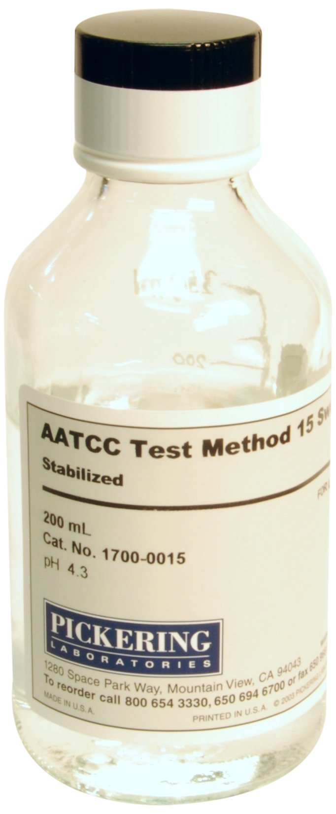 Pickering Laboratories 1700-0015 Artificial Perspiration, AATCC Test Method 15: Sweat, Stabilized, 200 ml, Liquid Formulation in Glass, 6'' Length, 2.5'' Height, 2.5'' Width