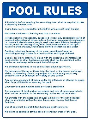 Pool Rules Sign (18 x 24 Inches on White Styrene Plastic) (Version C) by Aquatic Technology, Inc
