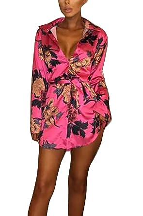 66d8211e9725 Yieune Langarmshirt Oberteil Damen Blumen Elegant Sommer Casual Bluse  V-Ausschnitt Shirt (Rot S