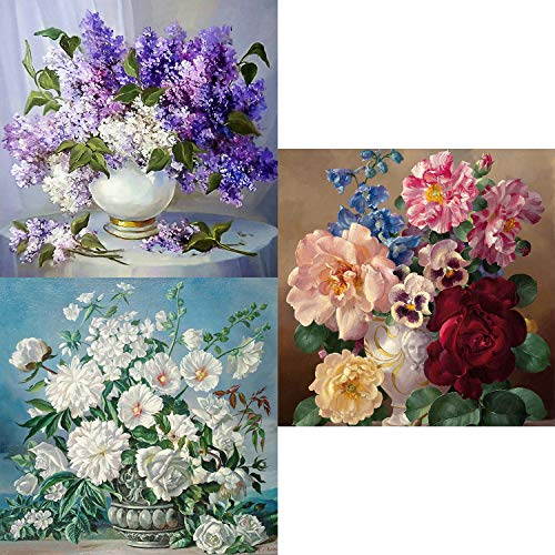 5D DIY Diamond Painting Kit for Adult, 3 Pack Flower Painting Design Round Diamond Full Drill Paint with Diamonds Paintings Pictures Arts Craft for Home Decoration by INFELING, 24x24cm/10x10inch