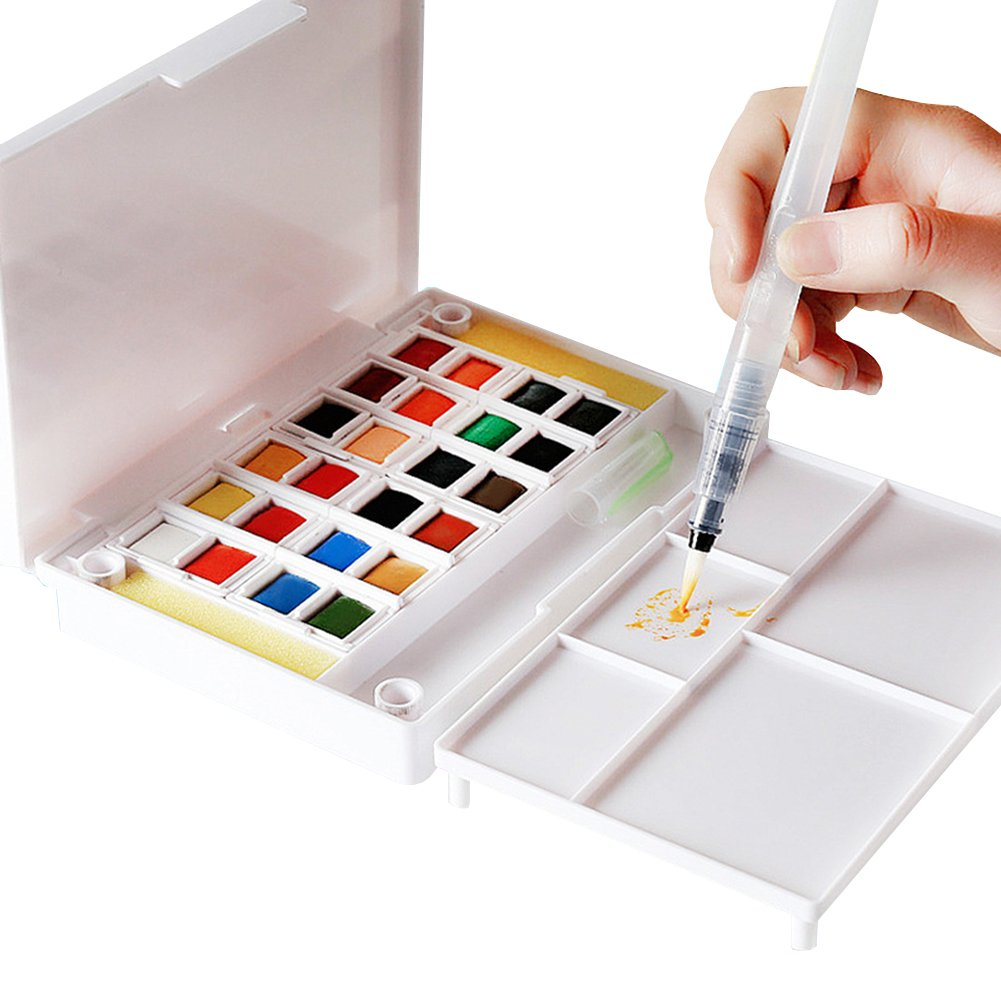 Watercolor Art Paint Set for adults and kids Portable Travel Watercolor Kit - Watercolor Field Sketch Set includes 2 Water Brush pens - 2 Sponges and 1 Mixing Palette (40 Colors) Alycoco