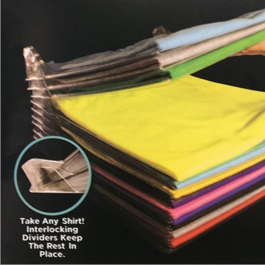 10 unids Inicio Conveniente Multifuncional Carpeta de Ropa Camiseta Polo Ropa para adultos Prendas de vestir Ropa Organizar Junta Plegable Transparrent