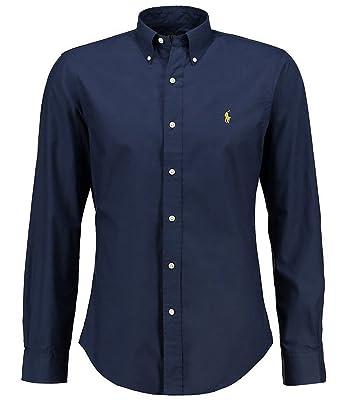 Chemise Ralph Lauren Homme - Couleur Bleu Fonce Logo Jaune - Coupe Slim Fit  Ajustée - ed2a6588f9d2