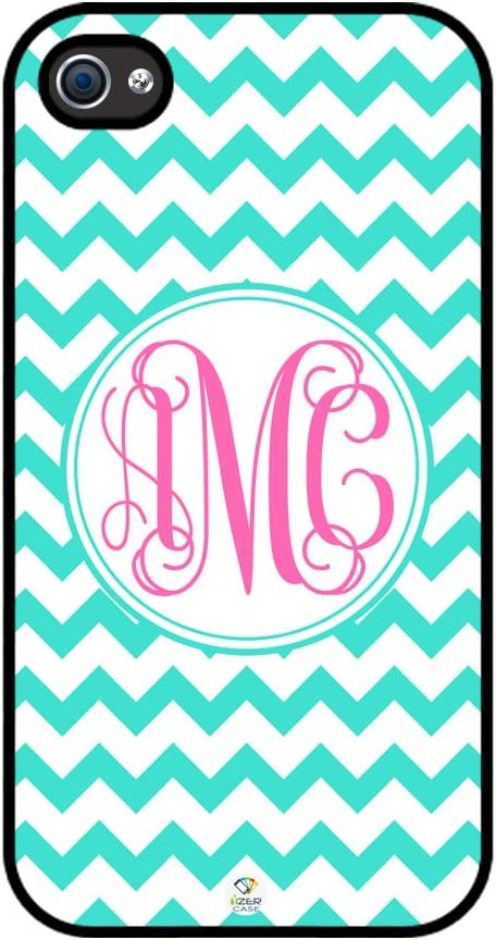 iZERCASE Monogram Personalized Turquoise Chevron with Pink Initials Pattern Rubber iPhone 4 case - Fits iPhone 4 & iPhone 4s T-Mobile, Verizon, AT&T, Sprint and International (Black)