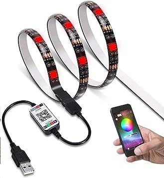 Tiras LED iluminación JACKYLED 2M TV tira de luces APP bluetooth control multicolor RGB 5050 energía USB 5V impermeable por computadora monitor televisión pantalla: Amazon.es: Electrónica