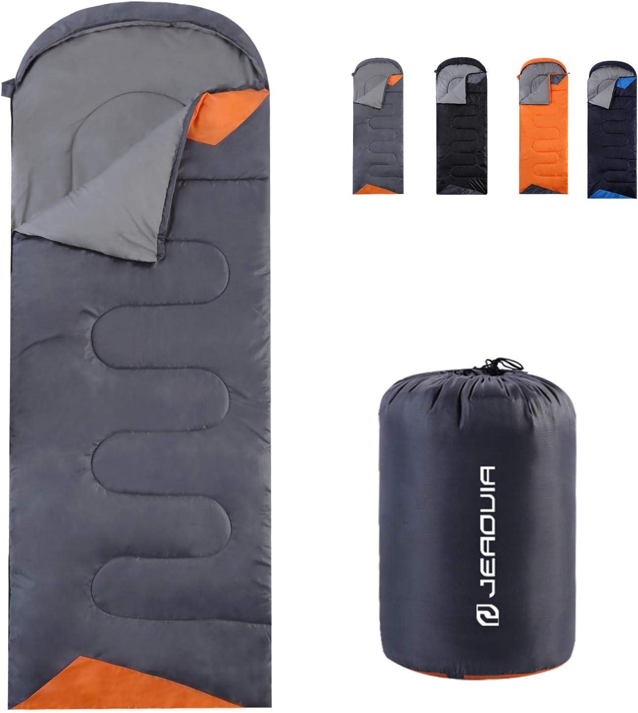 Gray and orange sleeping bag on white background