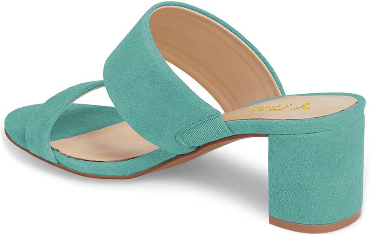 YDN Women Block Low Heel Mules Slip on Pumps Open Toe Slide Sandals Slipper Shoes
