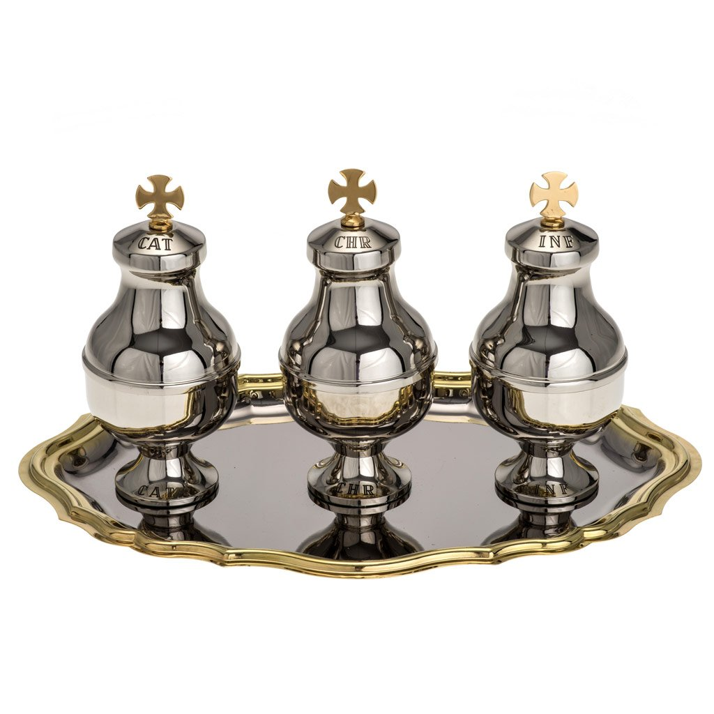 Holy oils vessels and plate in gold-plated brass, Nickel