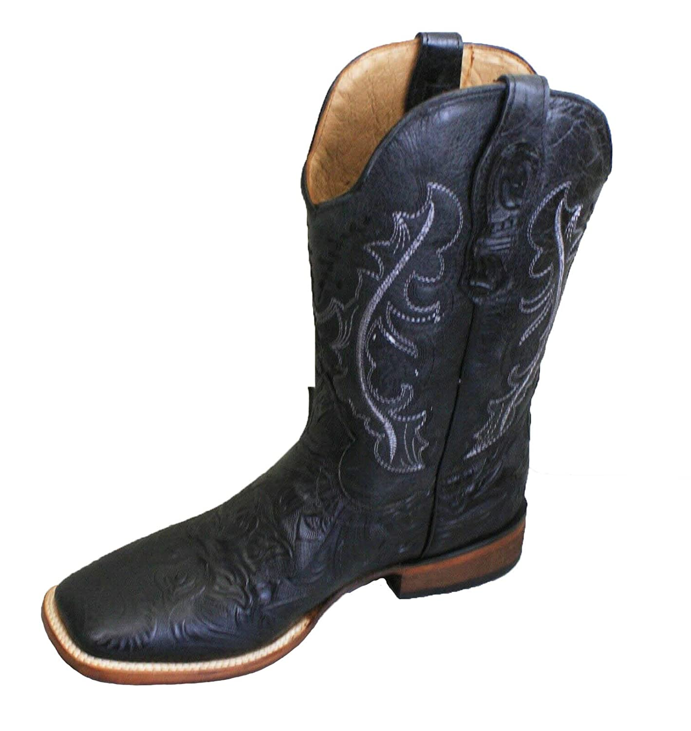 Mens Genuine Cowhide Hand Tooled Leather Square Toe Boots