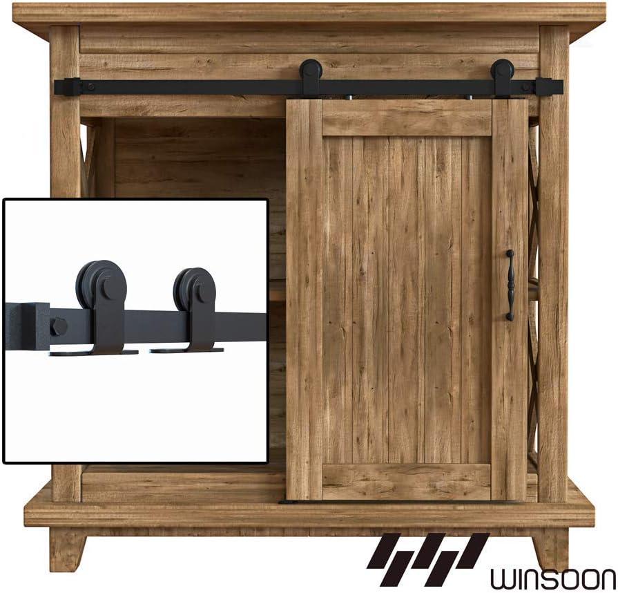 WINSOON 4FT Top Mounted Super Mini Sliding Barn Door Cabinet Hardware Kit for Single Door TV Stands Small Wardrobe Cabinets NO Cabinet T Shape Hanger