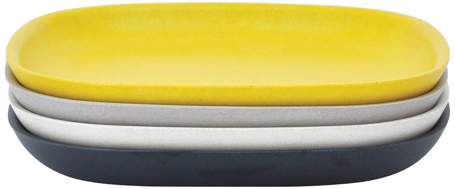 EKOBO Biobu Gusto Side Plate Set in Gift Box, Black/Stone/White/Lemon