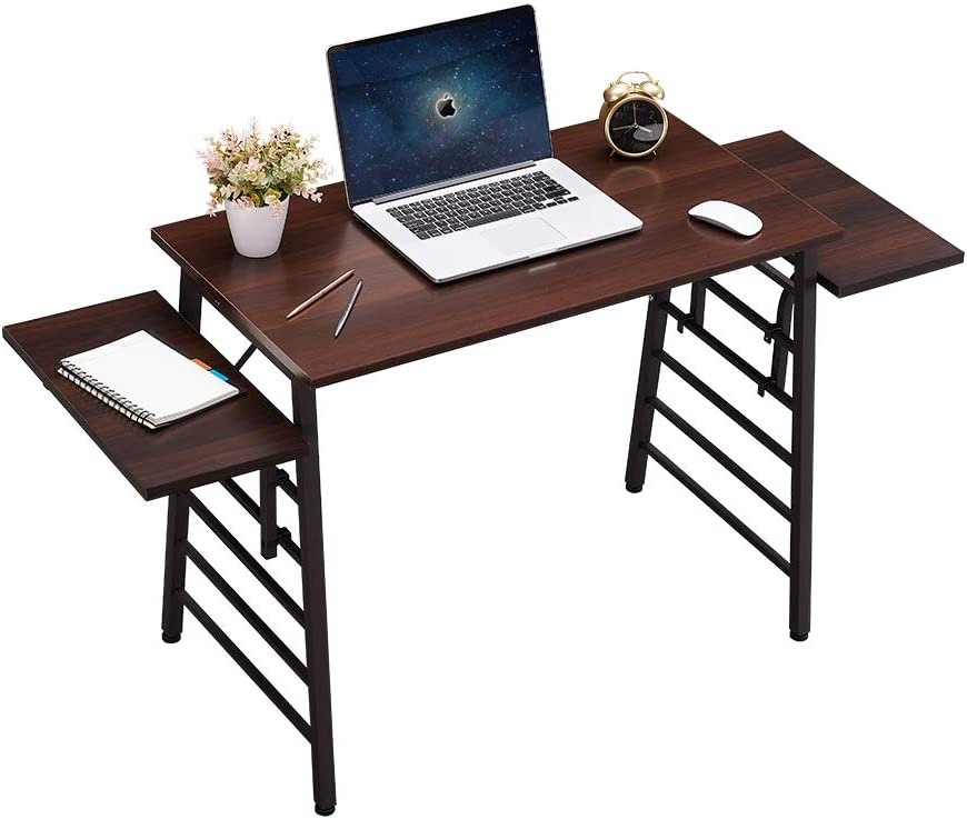 SEAMOON Modern Home Office Desk for Small Spaces 35 Inch Computer Laptop Study Writing Table Simple Wood Oak Desks with Two 9.5 Inch Removable Splice Board Sturdy Metal Frame Easy Assembly
