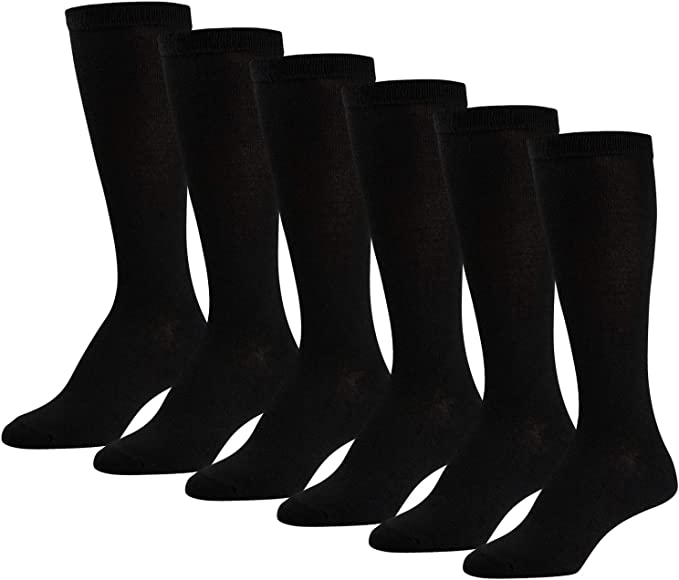 2 PAIRS Women/'s  knee high sock crew BOOTS socks shoe size 4-10 SOLID NAVY BLUE