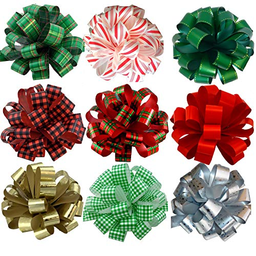 Large Assorted Christmas Pull Bows – 8″ Wide, Set of 9, Variety Pack Ribbons for Gifts, Red, Green, Gold, Silver, Plaid, Buffalo Check, Gingham, Presents, Wreaths, Garlands, Swag