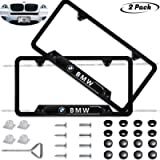 2-Pieces Before and After High-Grade Stainless Steel Resin Logo License Plate Frame for BMW,Strong and Sturdy Applicable…