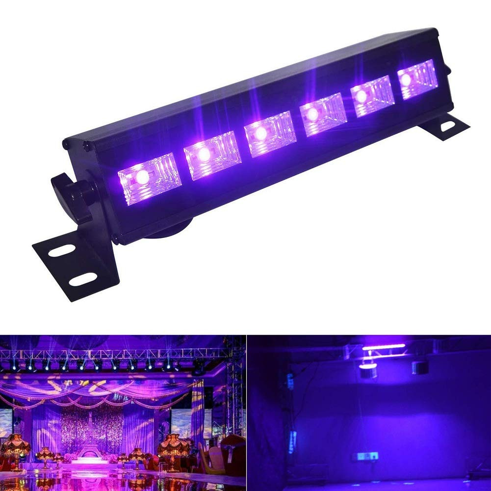 UV LED Bar, Black Lights with 3W x 6 LEDs UV Bar for Parties Club DJ Stage Lighting Metal Housing, Super Bright Ultraviolet Outdoor Blacklight for Halloween Birthday Wedding Guya Direct