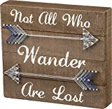 Cheap Primitives by Kathy 33176 String Art Box Sign, 9″ x 8″, Not All Who Wander