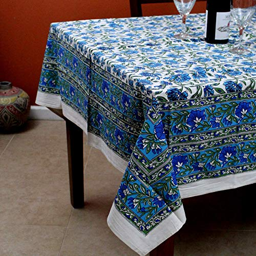 (India Arts Hand Block Print Cotton Eternal Floral Vine Tablecloth Square (Blue) )