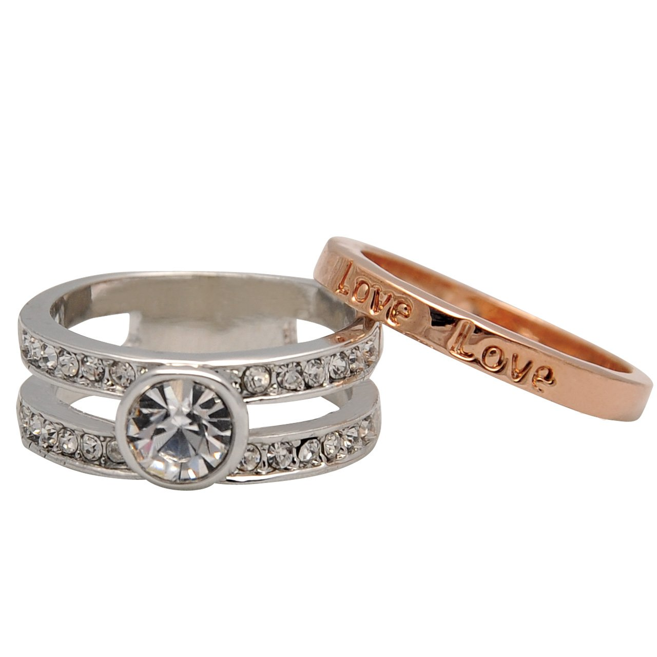 Double Crystal Love Two Tone Stackable Ring Set - Size 6