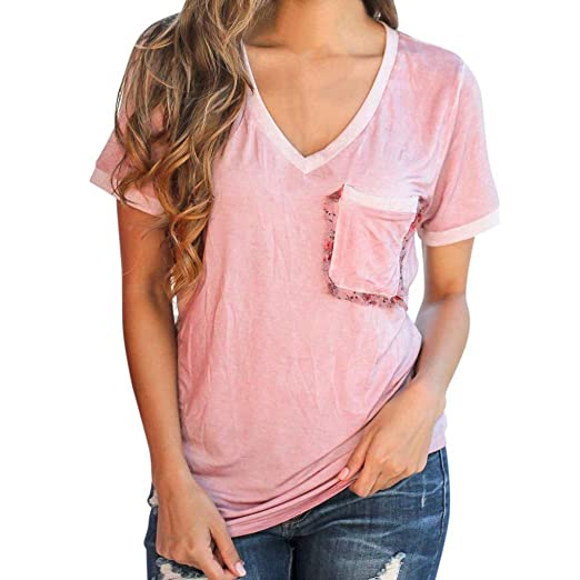 7ff0f009b6b77e Clearance Womens Clothing Tops V Neck Casual Short Sleeve Shirts Blouse  with Pocket (S