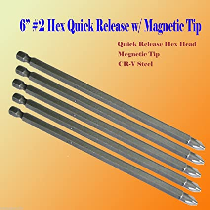 Pack of 50x Phillips #2 Screw Driver Bit Quick Release 1//4 Hex Shank Tip Ph2 Dry Wall